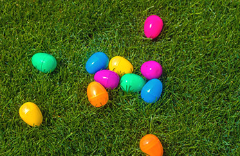 eater eggs scattered in the grass